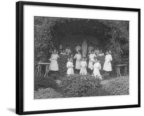 Graduating Class of Girls from the Roman Catholic Orphan Asylum Posed before the Grotto-William Davis Hassler-Framed Art Print