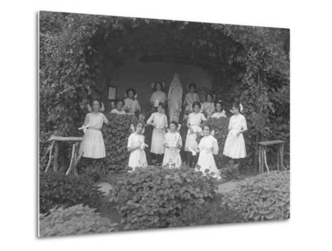 Graduating Class of Girls from the Roman Catholic Orphan Asylum Posed before the Grotto-William Davis Hassler-Metal Print