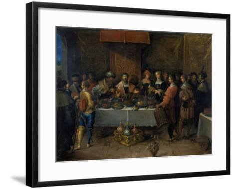 Damocles at the Table, before 1620-Frans Francken II-Framed Art Print