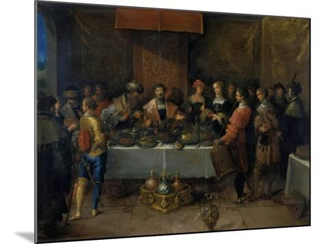 Damocles at the Table, before 1620-Frans Francken II-Mounted Giclee Print