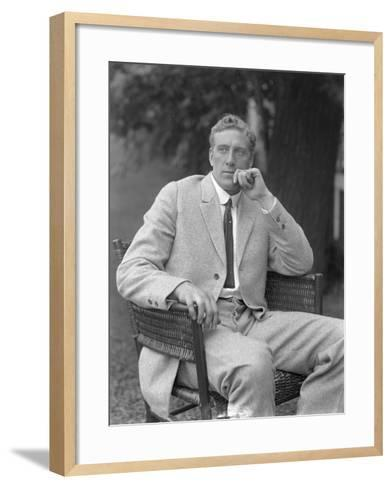 English Boxer William Thomas Wells (Bombardier Billy Wells), Posed Seated in a Tweed Suit, C.1911-William Davis Hassler-Framed Art Print