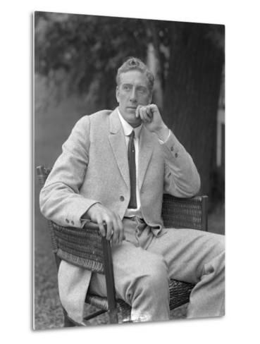 English Boxer William Thomas Wells (Bombardier Billy Wells), Posed Seated in a Tweed Suit, C.1911-William Davis Hassler-Metal Print