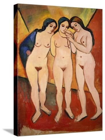 Three Nude Women (Red and Orange), 1912-August Macke-Stretched Canvas Print