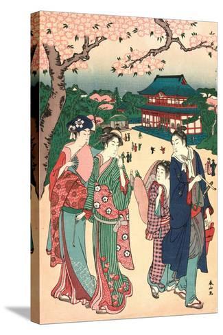 Ueno No Hanami, Cherry Blossom Viewing at Ueno-Katsukawa Shunzan-Stretched Canvas Print