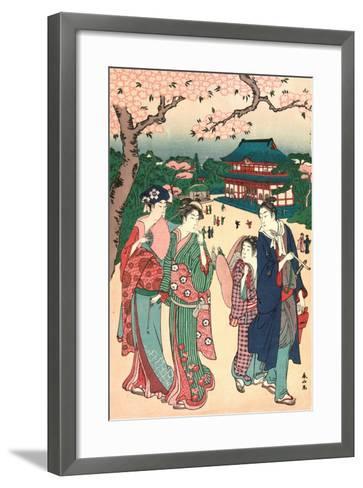 Ueno No Hanami, Cherry Blossom Viewing at Ueno-Katsukawa Shunzan-Framed Art Print
