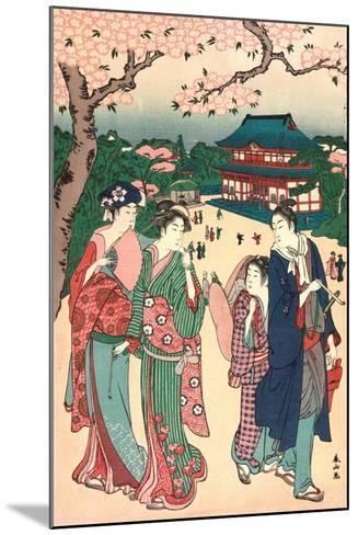 Ueno No Hanami, Cherry Blossom Viewing at Ueno-Katsukawa Shunzan-Mounted Giclee Print