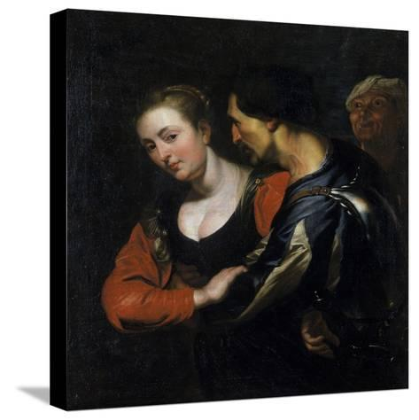 Landsknecht with a Woman-Theodor Rombouts-Stretched Canvas Print