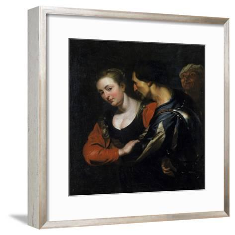 Landsknecht with a Woman-Theodor Rombouts-Framed Art Print