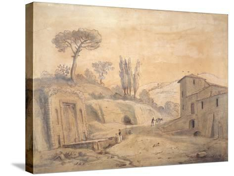 The Antique Fountain and Arch at Grottaferrata, Rome-Gaspar van Wittel-Stretched Canvas Print