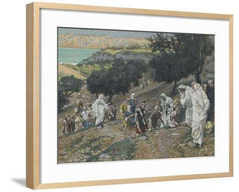 Jesus Heals the Blind and Lame on the Mountain from 'The Life of Our Lord Jesus Christ'-James Jacques Joseph Tissot-Framed Art Print
