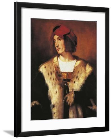 Portrait of Young Man Dressed in Fur, 1535-Titian (Tiziano Vecelli)-Framed Art Print