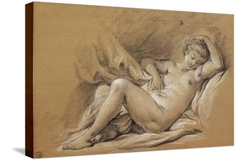 France, Chinoiseries, Drawing of Woman Nude on a Bed--Stretched Canvas Print