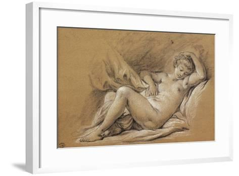 France, Chinoiseries, Drawing of Woman Nude on a Bed--Framed Art Print