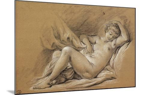France, Chinoiseries, Drawing of Woman Nude on a Bed--Mounted Giclee Print