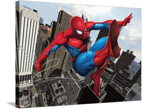 Spider-Man Swinging In the City--Stretched Canvas Print