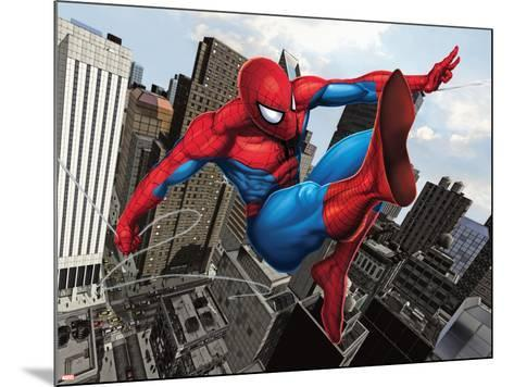 Spider-Man Swinging In the City--Mounted Poster