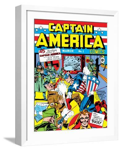Captain America Comics No.1 Cover: Captain America, Hitler and Adolf-Jack Kirby-Framed Art Print