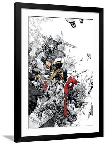 The Amazing Spider-Man No.555 Cover: Spider-Man and Wolverine-Chris Bachalo-Framed Art Print