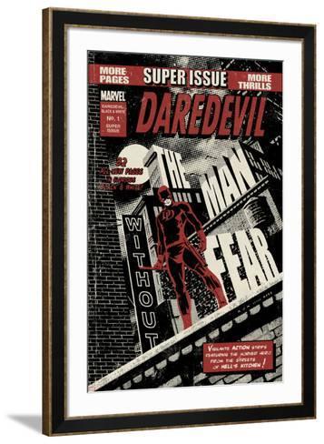 Daredevil Black & White No.1 Cover: Daredevil Standing on a Rooftop-David Aja-Framed Art Print