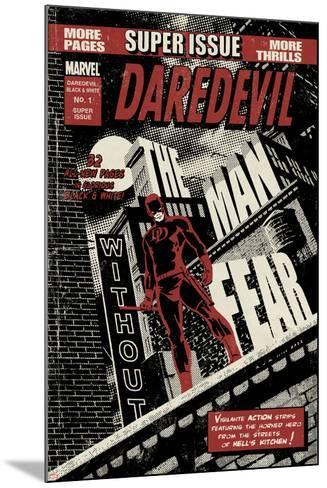 Daredevil Black & White No.1 Cover: Daredevil Standing on a Rooftop-David Aja-Mounted Poster