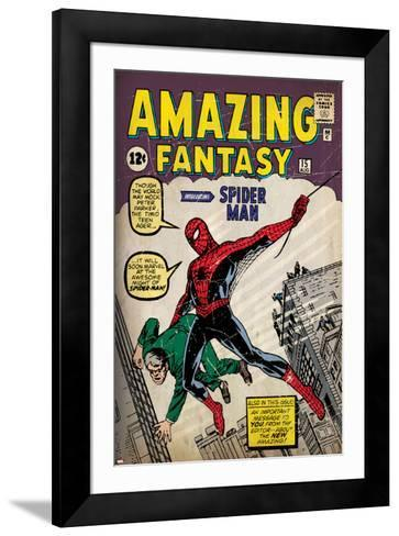 Marvel Comics Retro: Amazing Fantasy Comic Book Cover No.15, Introducing Spider Man (aged)--Framed Art Print