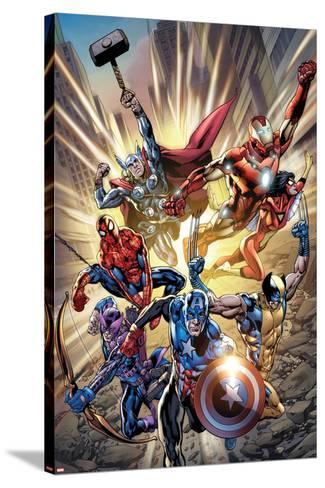 Avengers No.12.1 Cover: Captain America, Hawkeye, Wolverine, Spider-Man, Iron Man, and Others-Bryan Hitch-Stretched Canvas Print