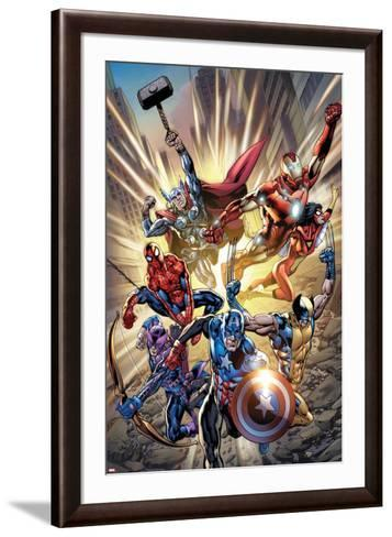 Avengers No.12.1 Cover: Captain America, Hawkeye, Wolverine, Spider-Man, Iron Man, and Others-Bryan Hitch-Framed Art Print