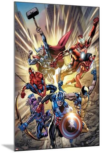 Avengers No.12.1 Cover: Captain America, Hawkeye, Wolverine, Spider-Man, Iron Man, and Others-Bryan Hitch-Mounted Poster