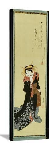 A Standing Courtesan in a Black Kimono with White Flowerheads Holding a Wad of Paper-Utagawa Kunisada-Stretched Canvas Print