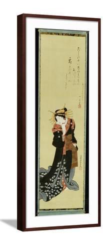 A Standing Courtesan in a Black Kimono with White Flowerheads Holding a Wad of Paper-Utagawa Kunisada-Framed Art Print