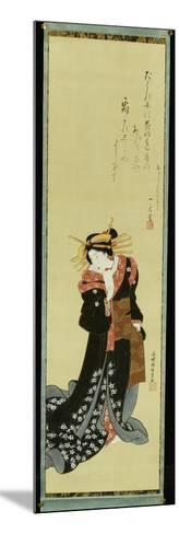 A Standing Courtesan in a Black Kimono with White Flowerheads Holding a Wad of Paper-Utagawa Kunisada-Mounted Giclee Print