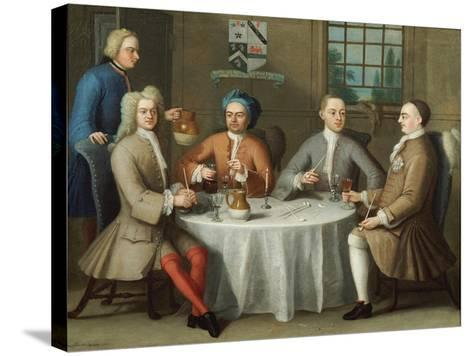 A Group Portrait of Sir Thomas Sebright, Sir John Bland and Two Friends, 1723-Benjamin Ferrers-Stretched Canvas Print