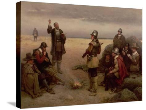 The Landing of the Pilgrim Fathers, 1620-George Henry Boughton-Stretched Canvas Print
