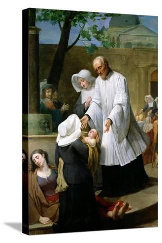 St. Vincent De Paul Helping the Plague-Ridden-Antoine Ansiaux-Stretched Canvas Print