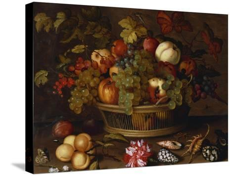 Grapes, Apples, a Peach and Plums in a Basket with Lily of the Valley-Balthasar van der Ast-Stretched Canvas Print