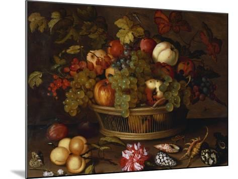 Grapes, Apples, a Peach and Plums in a Basket with Lily of the Valley-Balthasar van der Ast-Mounted Giclee Print