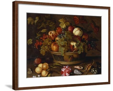 Grapes, Apples, a Peach and Plums in a Basket with Lily of the Valley-Balthasar van der Ast-Framed Art Print