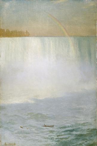 Waterfall and Rainbow, Niagara-Albert Bierstadt-Stretched Canvas Print