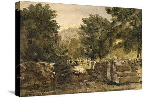 A Road in North Wales with Figures, C.1840-David Cox-Stretched Canvas Print