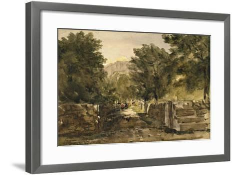 A Road in North Wales with Figures, C.1840-David Cox-Framed Art Print