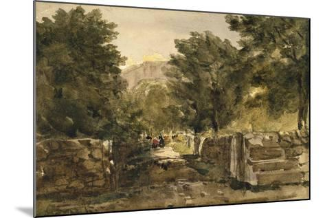 A Road in North Wales with Figures, C.1840-David Cox-Mounted Giclee Print