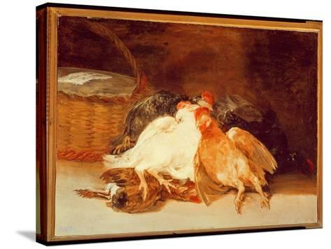 Still Life with Dead Chickens and a Wicker Basket-Francisco de Goya-Stretched Canvas Print