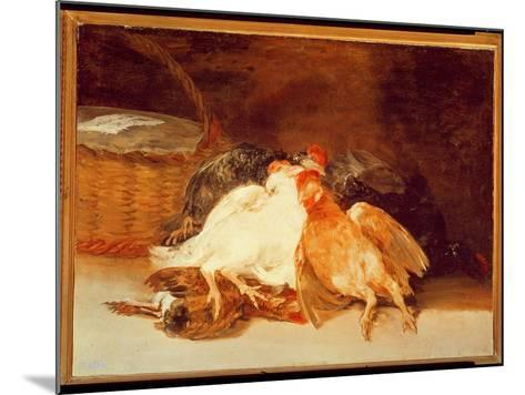 Still Life with Dead Chickens and a Wicker Basket-Francisco de Goya-Mounted Giclee Print