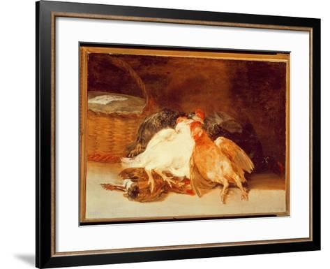 Still Life with Dead Chickens and a Wicker Basket-Francisco de Goya-Framed Art Print
