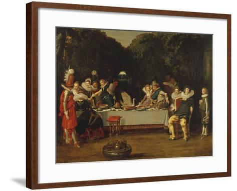 Elegant Figures Feasting in an Arbour-Dirck Hals-Framed Art Print