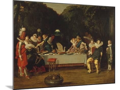 Elegant Figures Feasting in an Arbour-Dirck Hals-Mounted Giclee Print