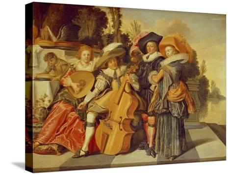 Elegant Figures Making Music on a Terrace by a Lake-Dirck Hals-Stretched Canvas Print
