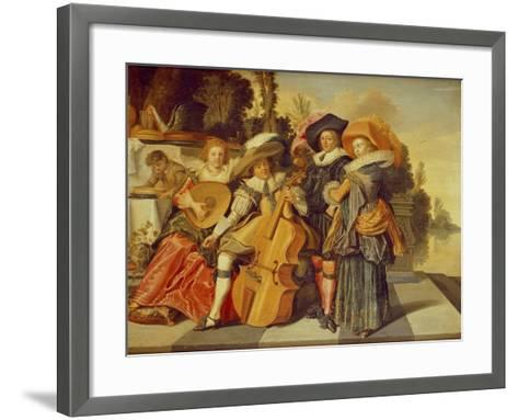 Elegant Figures Making Music on a Terrace by a Lake-Dirck Hals-Framed Art Print