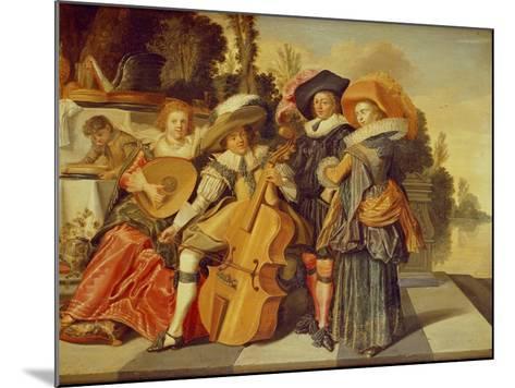 Elegant Figures Making Music on a Terrace by a Lake-Dirck Hals-Mounted Giclee Print