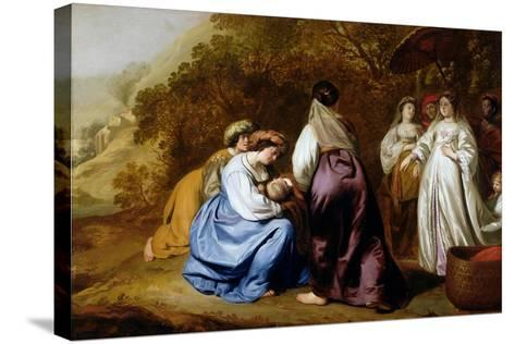 The Finding of Moses-Abraham Lamberts Jacobsz van den Tempel-Stretched Canvas Print